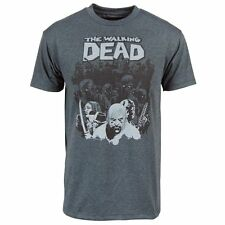 Official Mens The Walking Dead Zombie Herd Comic T Shirt Charcoal Tee NEW