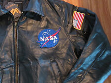 Alpha Industries NASA Bombardier Leather Flight Jacket w/Patches: color Black