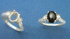 (6x4-10x8mm) Oval Cabochon Deco Top Sterling Silver Ring Setting Size 5-9