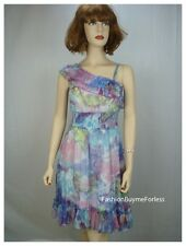Runway Paris Blue Watercolor Victorian Faux Silk Chiffon Taffeta Smocked Dress