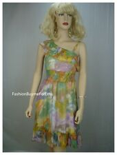 Runway Paris Green Victorian Watercolor Faux Silk Chiffon Taffeta Smocked Dress