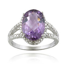 925 Silver 4ct Amethyst & Diamond Accent Oval Ring