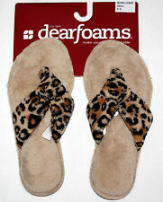 Dearfoams Women's Cheetah Print Slippers Shoes NWT several size available **