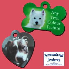 Personalised Photo Metal Pet Tags. Your image and text printed onto one side.