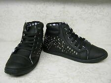 Ladies F8957 Black Synthetic Lace Up Hi Top Trainers With Stud Detail