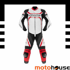 ALPINESTARS MENS MOTEGI ONE PIECE LEATHER MOTORCYCLE RACE SUIT WHITE BLACK RED