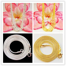 SL01  Wholesale ! New Plated-silver or Plated-gold snake chain necklace 10 pcs