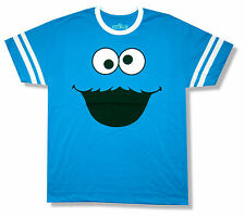 "SESAME STREET ""COOKIE MONSTER"" FACE BLUE RINGER T-SHIRT NEW OFFICIAL ADULT S-2XL"