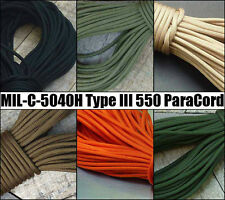 Genuine 550 Paracord - Type 3 MIL-C-5040H & PIA-C-5040 8 Core Strands - USA III