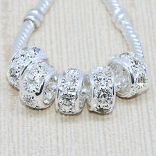 Wholesale Lots Crystal Silver Big Hole Spacer European Beads Fit Charm Bracelet