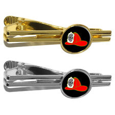 Fire Fighter Helmet - Fire Deparment on Black Round Tie Bar Clip Clasp Tack