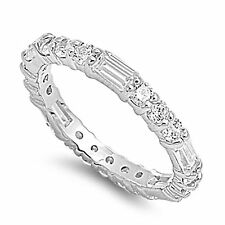 womens cz 925 silver eternity anniversary wedding band ring size 5 6 7 8 9 10