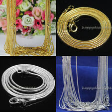 "20pcs/50pcs Silver Plated/Gold Plated 1.2mm Snake Chain Necklace 16"" 18"" 20"" 24"""