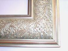 "3.5"" Wide Aged Silver Ornate Canvas Picture Frame-Custom Made Standard Sizes"