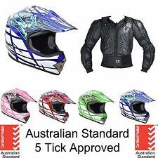 KIDS YOUTH MOTOCROSS HELMET BODY ARMOUR FOR DIRT BIKE PEEWEE ATV QUAD PROTECTION