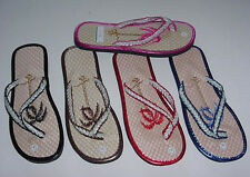Women Girl Flip Flops Thong Summer Beach Flat Straw Braided Sandal Slippers 2035