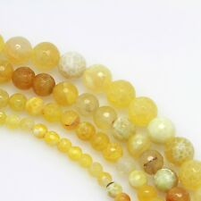 "8"" 6mm 8mm 10mm 12mm Yellow Fire Agate Gemstone Round Beads Faceted Strands"