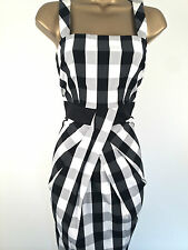 Karen Millen Black White Grey Check Dress Size 6 Gingham Cotton Summer Evening