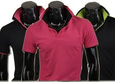 Jeansian Mens T-Shirts Top Basic Tee POLO Black Solids 7 Colors 4 Sizes 8415
