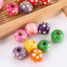 100/500 Wholesale Charms Wood Spacer Bead Dot Printed Finding 9x10mm 8744
