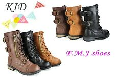 FMJ Shoes MGO Kids Patent Leather Military Combat Lace Up Boots & Zipper Shoes