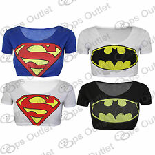 Womens Ladies Cropped Superman Batman Comic Hero Short Sleeves T Shirt Tank Top