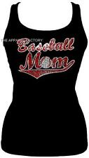 New Rhinestone BASEBALL MOM Black Junior Tank Top T Shirt S-3XL Bling Sexy