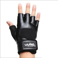 PU Male Men Fitness Training Gym exercise bike bicycle Sport fight Gloves Black