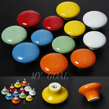 Round Ceramic Door Knobs Cabinets Drawer Kitchen Cupboard Pull Handles Furniture
