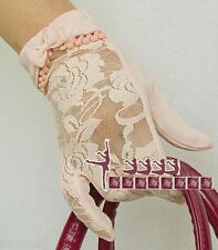 Women Soft Cotton Floral Lace Short Gloves ~ Ivory, Pink, White, Black (Size S)