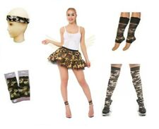 COMPLETE ARMY CAMOUFLAGE SOLDIER MILITARY FANCY DRESS OUTFIT SOCKS CAMO PAINT