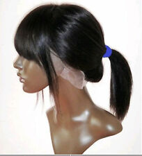 """12"""" 1# indian remy human hair full lace * lace front wig with bang / fringe"""