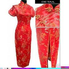 Chinese Women's Silk Satin Dress Cheong-sam Size S -3XL Dragon Phoenix