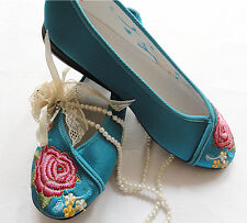 NEW! Women's Satin Embroidered Ballet Flat Casual Slip On | Wedding Shoes |Prom