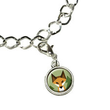 Geometric Orange Fox - Antiqued Bracelet Pendant Charm with Lobster Clasp
