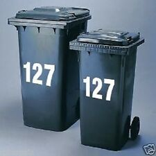 2 Large Wheelie Bin Number Self Adhesive Stick On Sticker - White Numbers 0 - 9