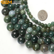 "Round Green Moss Agate Beads Jewelry Making Gemstone Strand 15"" 2-14mm Size Pick"