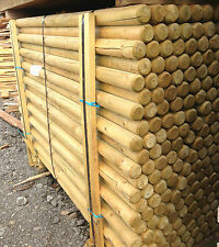50mm Machined Round Pointed Stakes Posts Treated Green - Delivery Available