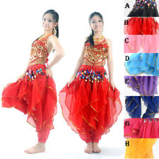NEW Belly Dance Costume Set  Top & Tribal Gold Wavy Harem Pants Skirt  8 COLORS