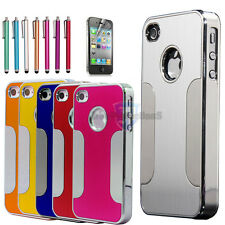 Luxury Brushed Aluminum Chrome Metal Hard Case Cover For iPhone 4G 4S 4 + Stylus
