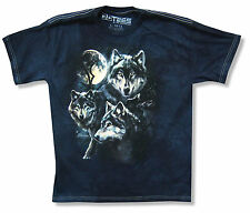 "THE MOUNTAIN ""WOLF PACK"" NAVY BLUE TIE DYE T-SHIRT NEW OFFICIAL KIDS WOLVES MOON"