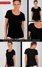 Womens Plain BASIC SHUTTER scoop neck TEE t shirt LOW neck LOOSE Fit 7COLOURS!