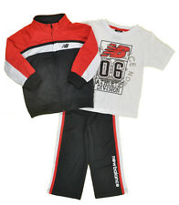 New Balance Toddler Boys Black, White & Red 3pc Track Suit Set Size 2T 3T 4T