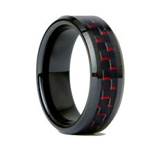 Mens Tungsten Carbide Ring Black Ceramic Red Carbon Fiber 8mm (7.0-12.0)