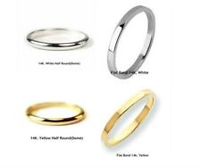 10K. & 14K.Solid Gold Traditional 2mm. Band or Stacking Ring Handmade in U.S.