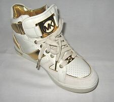 Michael Kors New In Box Ful Tonhigh Gold Leather/Suede Sneakers C:White & Gold
