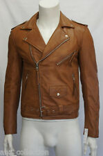 Mens Gents Tan Slimfit Brando Style Real Lambskin Washed Effect Leather Jacket