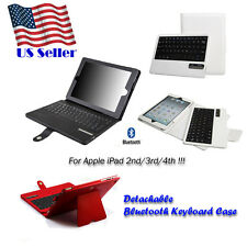 Bluetooth Wireless Removable Keyboard Leather Cover Case for Apple iPad 2/3/4