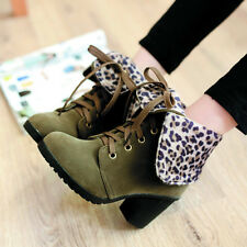 New Fashion Sexy Trend Lace Up Leopards Women Ankle High Heel Boots Shoes Ladies