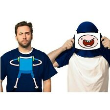 Finn Flip-Up Face Adventure Time Adult T-Shirt Reveal Jake New